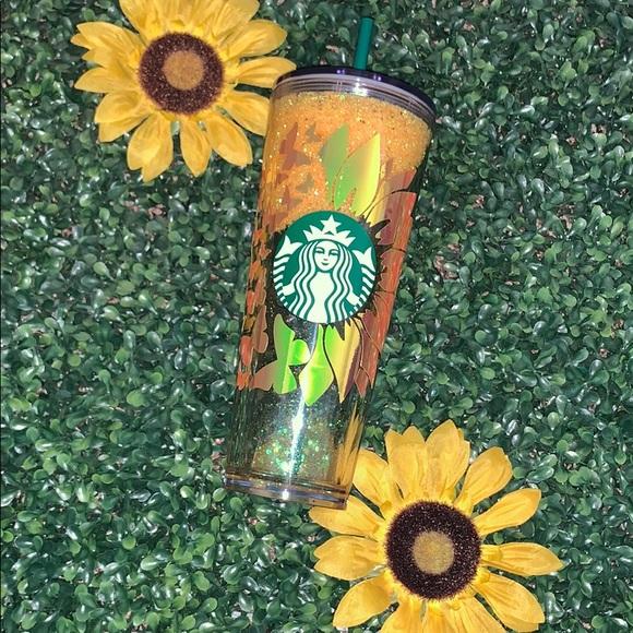 Sunflowers /& butterflies Cup Butterfly starbucks tumblers sunflower starbucks cup starbucks mugs butterflies
